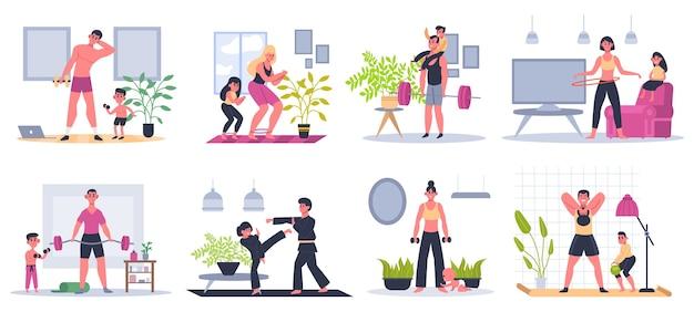 Adequação da família em casa. mãe, pai e filhos se exercitando em casa, atividades físicas, conjunto de ilustração de estilo de vida saudável de famílias. treino familiar, exercícios saudáveis para mãe e filhos