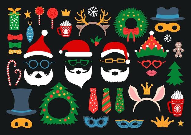 Adereços de cabine fotográfica e decoração de festa com papai noel, veado, elfo