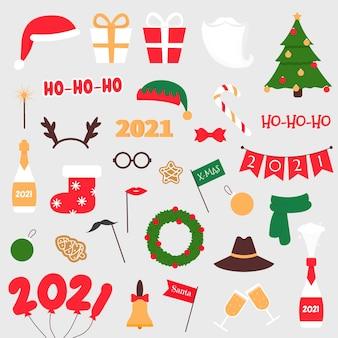 Adereços fotográficos de ano novo ano novo e natal