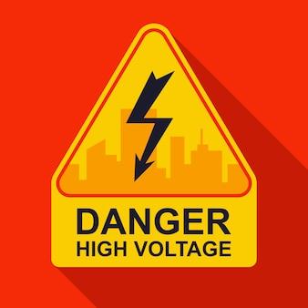 Adesivo amarelo de advertência alta tensão