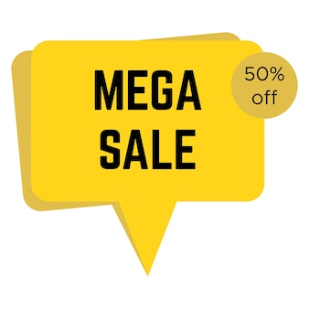 Adesivo amarelo de mega venda com texto. modelo de etiqueta de venda. ilustração vetorial