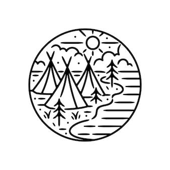 Adesivo ao ar livre vintage, patch, design de distintivo de pin. com barraca de tribos indígenas