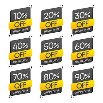 Adesivo, botão premium exclusivo de melhor preço. oferta especial de venda. ilustração em vetor definida.