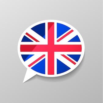 Adesivo brilhante brilhante em forma de bolha do discurso com a bandeira da grã-bretanha, o conceito de língua inglesa