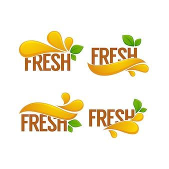 Adesivo brilhante, emblema e logotipo para suco fresco de cereja