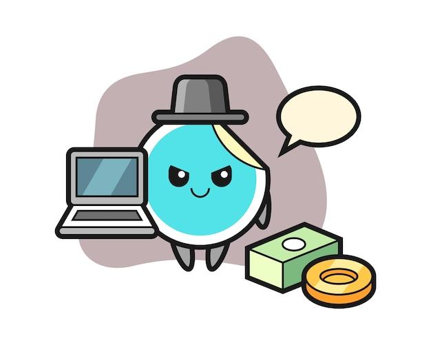 Adesivo cartoon como um hacker