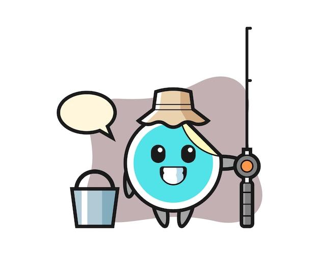Adesivo cartoon como um pescador