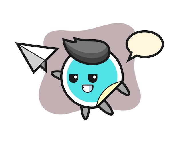 Adesivo cartoon jogando papel avião