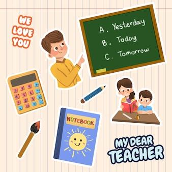 Adesivo ccartoon com design de conceito do dia do professor