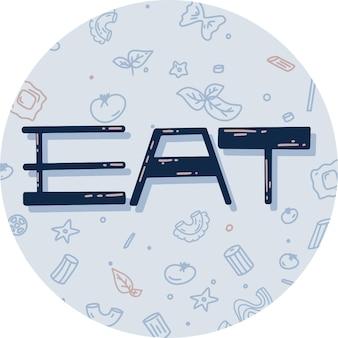 Adesivo com a palavra comer e macarrão. ilustração vetorial em estilo simples