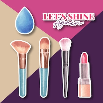 Adesivo com design de conceito de maquiagem para anunciar e marketing de aquarela.