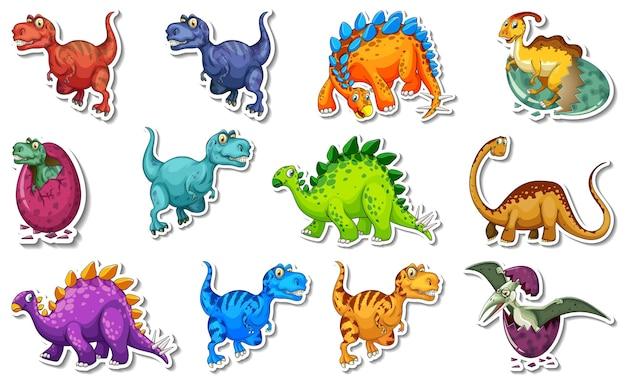 Adesivo com diferentes tipos de personagens de desenhos animados de dinossauros