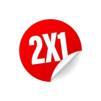 Adesivo comercial vermelho de metade do preço 2x1