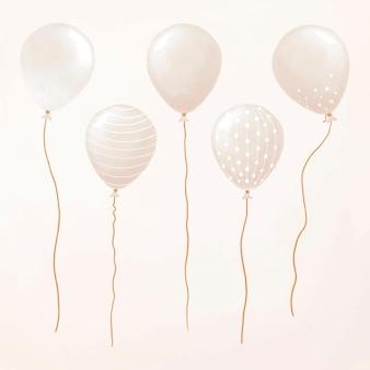 Adesivo conjunto flutuante de vetor de elemento balão de festa para tema de aniversário
