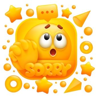 Adesivo da web, desculpe. personagem de emoji amarelo em estilo cartoon 3d.