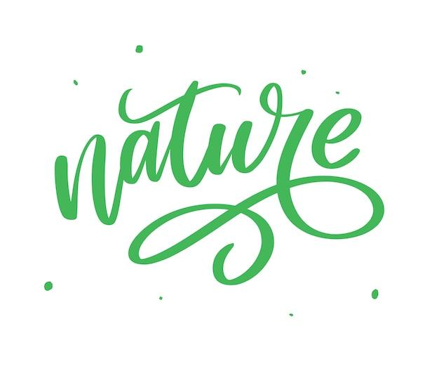 Adesivo de 100 letras verdes naturais com caligrafia brushpen. eco conceito amigável para adesivos, banners, cartões, propaganda. natureza ecológica.