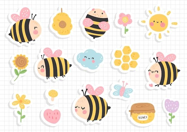 Adesivo de abelha, álbum de recortes, folha de adesivos de abelha