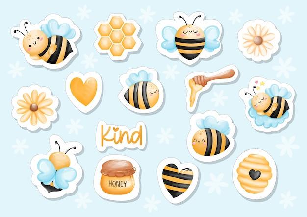 Adesivo de abelha de mel em aquarela