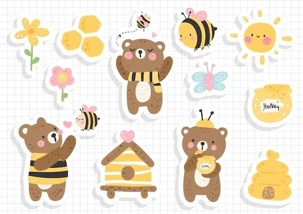 Adesivo de abelha e urso, álbum de recortes, folha de adesivos de abelha
