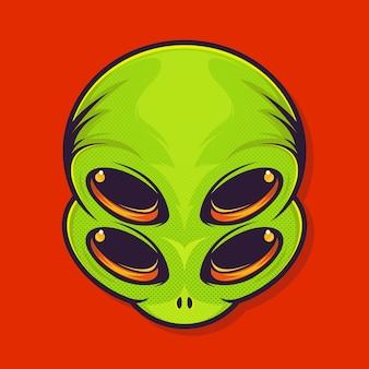 Adesivo de alienígena com quatro olhos isolados em vermelho