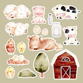 Adesivo de animais de fazenda desenhados à mão em aquarela