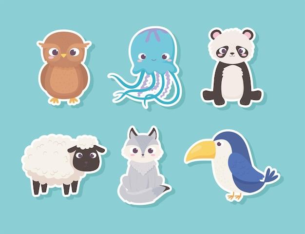 Adesivo de animais fofos