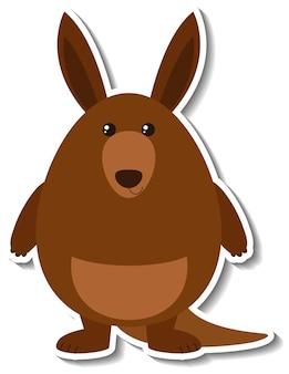 Adesivo de animal de desenho animado de canguru fofo
