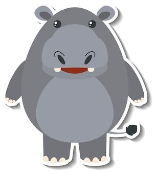 Adesivo de animal de desenho animado de hipopótamo fofo