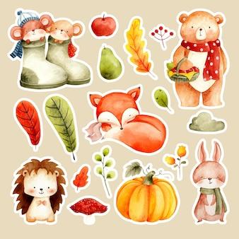 Adesivo de animal fofo em aquarela e folhas de outono