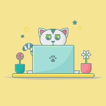 Adesivo de animal gato para banner da página de destino da web