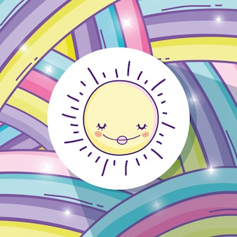 Adesivo de arco-íris de beleza e sol feliz