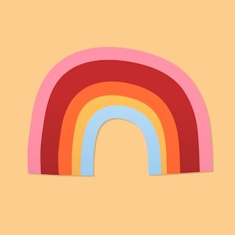 Adesivo de arco-íris fofo, vetor de clipart de clima para impressão