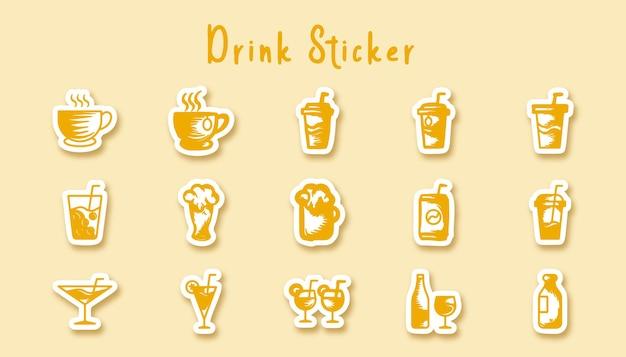 Adesivo de arte de doodle de bebida em vidro