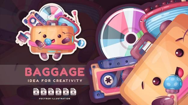 Adesivo de bagagem fofa com coisas diferentes e adoráveis