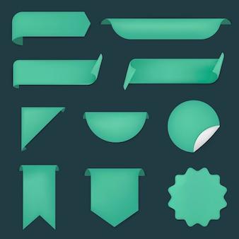 Adesivo de bandeira verde, conjunto de clipart simples de vetor em branco
