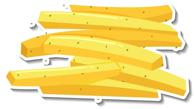Adesivo de batata frita em fundo branco