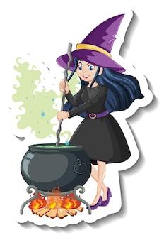 Adesivo de bruxa linda personagem de desenho animado
