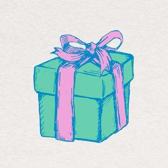 Adesivo de caixa de presente de aniversário em estilo vintage colorido