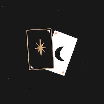 Adesivo de cartas de tarô de alquimia vetorial ilustração de adesivo místico mínimo