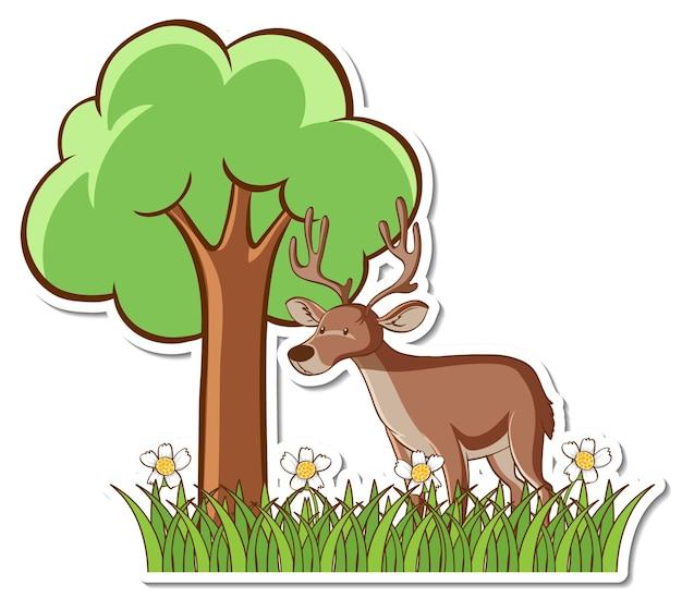 Adesivo de cervo em pé no campo de grama