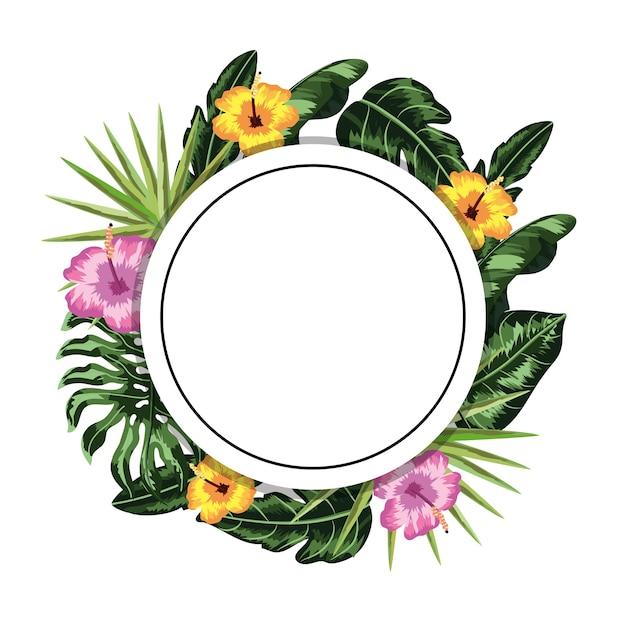 Adesivo de círculo com decoração de flores e folhas