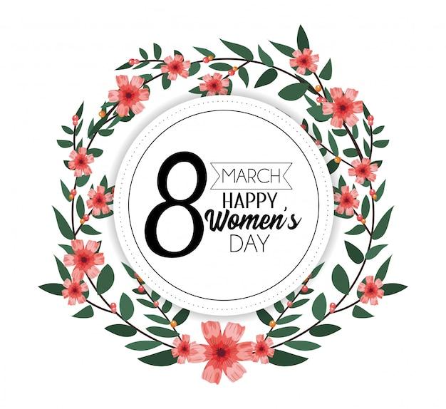 Adesivo de círculo com flores e folhas para o dia das mulheres