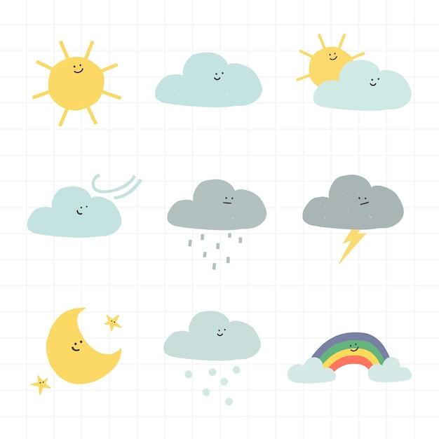 Adesivo de clima de nuvens com rosto sorridente e conjunto de doodle fofo para crianças