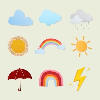 Adesivo de clima fofo, conjunto de vetores de clipart colorido