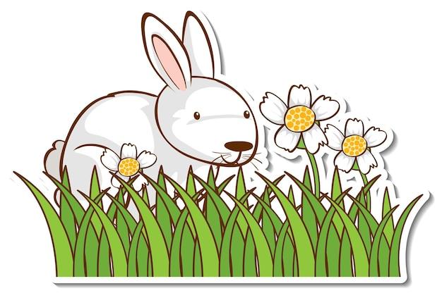 Adesivo de coelho branco em campo de grama