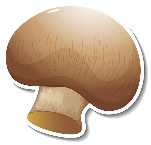 Adesivo de cogumelo champignon em fundo branco