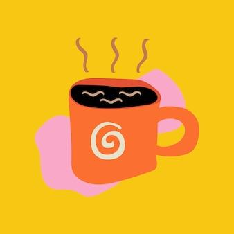 Adesivo de comida de café, ilustração de doodle fofinho em vetor de design retro