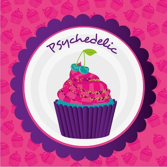 Adesivo de cupcake psicodélico