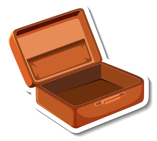 Adesivo de desenho animado com mala de couro aberta