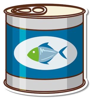 Adesivo de desenho animado de atum enlatado
